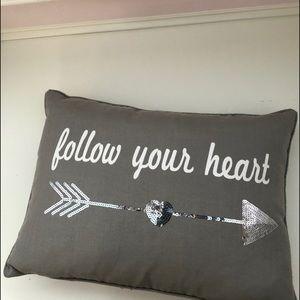 """""""follow your heart"""" pillow"""